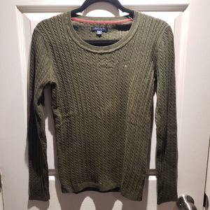 Tommy Hilfiger Green Cable Knit Sweater